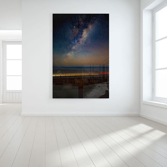 Sea Cliff Bridge Shooting Star   Available as Fine Art Acrylic, Canvas & Paper Prints on www.kess.gallery