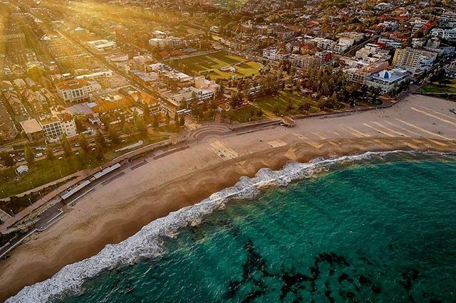 Coogee Rays by Alex Kess from $130.00  Shop Now  Link in Bio   Aerial Drone Photo of Coogee Beach at Sunset.  Location:  Coogee Beach, Sydney 